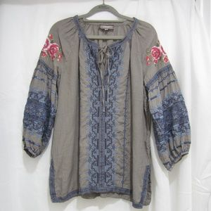 """Johnny Was S Floral Embroidered Tunic Fall 44"""" B"""